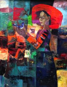 Bird and Girl 75x95cm oil on canvas 2012. p 2.0