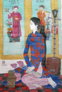 Dong Ho folk painting and girl 88x60cm water color on silk on canvas 2012. p 1.6