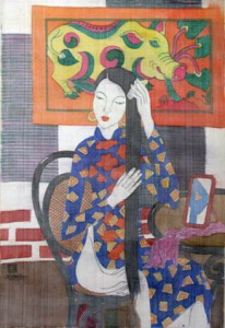 Dong Ho folk painting and girl II 88x60cm water color on silk on canvas 2012. p 1.8