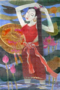Lotus 88x60cm water color on silk on canvas 2012. p 1.2