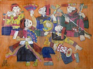 Traditional dancing 80x60cm water color on silk on canvas 2012. p 1.0