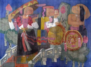 to go festival 80x60cm water color on silk on canvas 2012. p 1.0