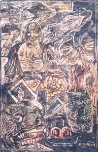 title Lifetime 50x80cm year 1987 wood-engraving by Xuan Chieu - web
