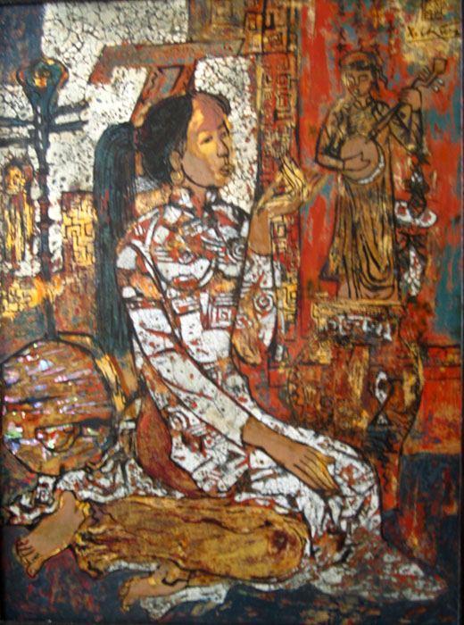 Dong Ho folk painting and girl 45x60cm lacquer (sold)