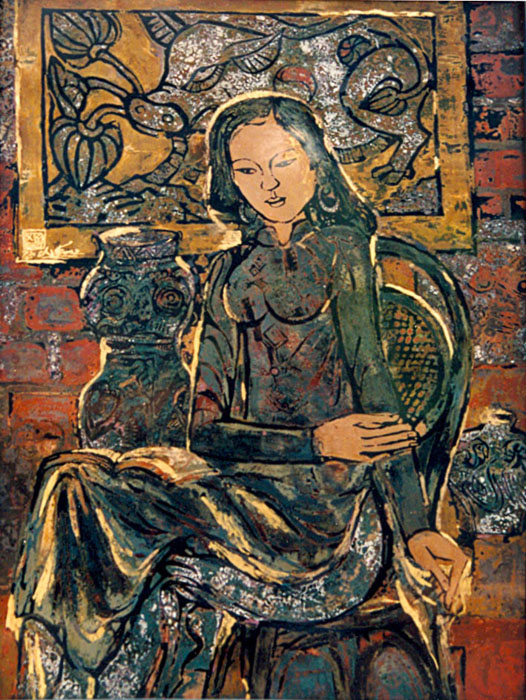 Dong Ho folk painting and girl 68x80cm lacquer (sold)