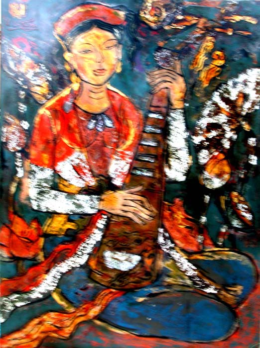 Quan Ho girl 45x60cm lacquer 09 (sold)
