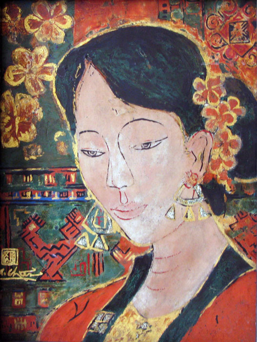 Thai ethnic girl 40x50cm lacquer 09(sold)