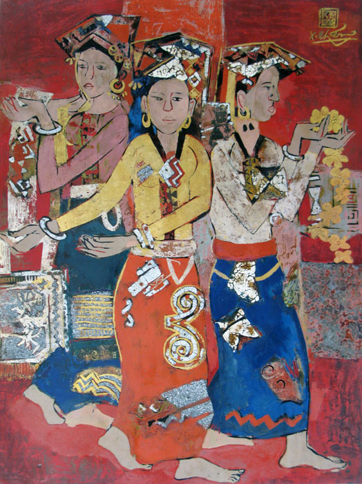 three Thai ethnic girls 45x60cm lacquer 09
