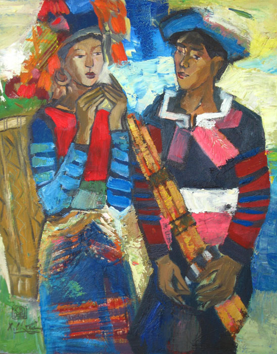 To play a wind instrument 50x70cm oil (2) (sold)