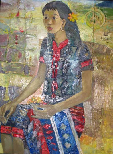 West hightland ethnic girl 50x70cm oil (3)(sold)