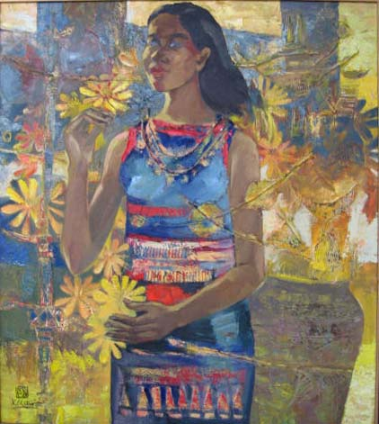 West hightland ethnic girl 80x100cm oil (sold)
