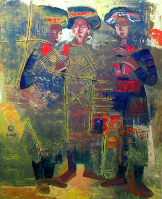 three h'mong ethnic girl 80x100cm oil (2) (sold)