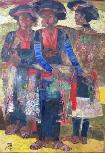 three h'mong ethnic girl 80x100cm oil (4) (sold)